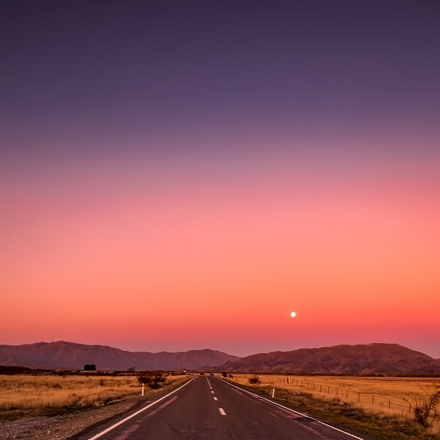 Sunset on the Road - Queenstown Motorhome Rentals